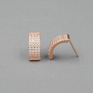 Rose Gold Sterling Silver Stud Earrings Cubic Zirconia 01401 Hip Hop Women Men