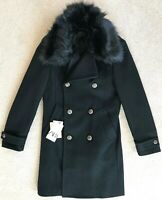 ZARA MAN BLACK FAUX FUR COLLAR MILITARY DOUBLE BREASTED WOOL COAT NWT! S