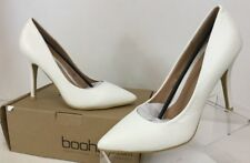 Boohoo Olivia Low Heel Court Pointed Toe Pumps White Women's Sz 8
