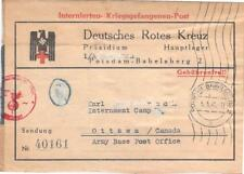 1941 Germany to Canada POW Prisoner of War Camp Red Cross Package Label Cover