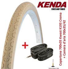 """1 Copertone Kenda 700x35 Kwest Crema + 1 Camera per bici 28"""" Fixed Scatto Fisso"""