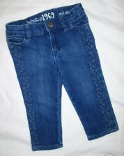 Baby Gap 1969 Mini Skinny Fancy Blue Denim Jeans w/ Embroidery Size 12-18 months