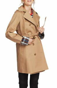Court & Rowe Women's Plaid Lined Double Breasted Trench Coat (Brown, S)