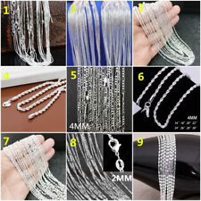 New Wholesale Fashion 925 Silver Women Men's Chain Necklace Jewelry 16-30Inch