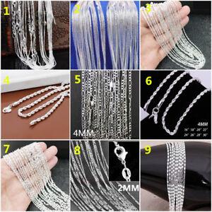 New Wholesale Fashion 925 Silver Women Men's Chain Necklace Jewelry 16-30Inch