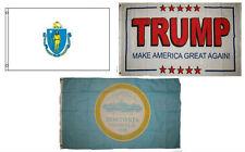 3x5 Trump White #2 & State Massachusetts & City Boston Wholesale Set Flag 3'x5'