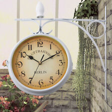 Blanco 215MM Doble Cara Reloj Analógico Colgante de Pared Casa Restaurante Hotel