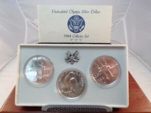 1984 Uncirculated Olympic Silver Dollars 3 Coin Set P D S # C1881