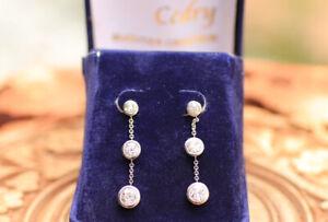 Boucles d'oreilles 3 diamants or blanc 18K / Earrings 3 diamonds