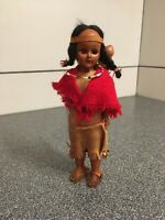 Vintage Ethnic Doll Nice Indian Lady Girl Hard Plastic Dressed  With Baby / Red