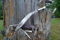 Antique Large 18in blade burma Kukri Gurkha Fighting Knife w/ Scabbard & knifes