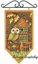 FALL Owl Mini Banner Debbie Mumm Dimensions Cross Stitch Kit 72-74135 NEW