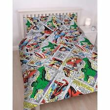 NEW MARVEL COMICS RETRO DOUBLE DUVET QUILT COVER SET BOYS KIDS CHILDRENS BEDROOM