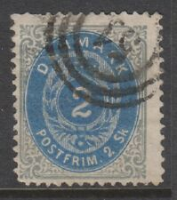 Denmark - 1870/74, 2sk Prussian Blue & Grey stamp - Used - SG 38a