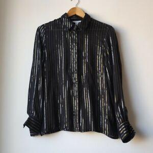 Topshop Black Disco Metallic Stripe Sparkly Silver Gold Blouse Shirt 8