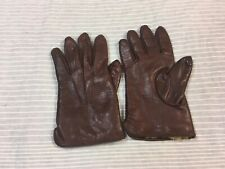 Brown leather gloves rabbit fur lined