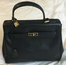 """""""THE FIND"""" Black Leather Belted Turnlock KELLY Satchel Purse Bag-GORGEOUS!"""