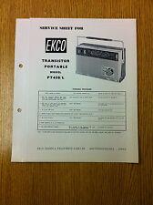 EKCO PT 438/L Service Sheet Transistor Portable Radio - Vintage