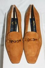 NEW Patrick Cox 39.5 6.5 TAN BURNT ORANGE LEATHER SUEDE FLAT LOAFER PUMPS