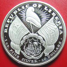 2000 LIBERIA $10 CAMEO PROOF 1oz SILVER USA MORGAN LIBERTY HEAD CROSSED FLAGS