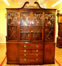 Gorgeous Old Baker Furniture Breakfront Bookcase with Secretary Desk Drawer