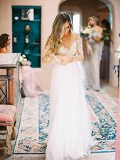 Boho Stunning White/Ivory Wedding Dress Lace Chiffon Beach Bridal Gowns Custom