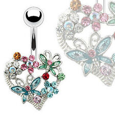 Surgical Steel Heart Flower and Butterfly Belly Bar Navel Ring Piercing