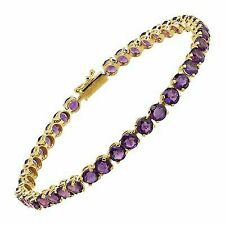 Natural Amethyst Tennis Bracelet in 14k Yellow Gold 7""