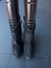BLACK SUEDE LEATHER PHASE EIGHT ANKLE BOOTS SIZE 6 EUR 39 cowboy Western Flynn