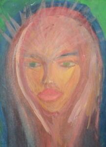 EXPRESSIONIST WOMAN PORTRAIT GOUACHE PAINTING