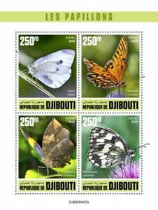Djibouti Butterflies Stamps 2020 MNH Marbled White Fritillary Butterfly 4v M/S