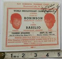CARMEN BASILIO HAND SIGNED REPRO FIGHT TICKET V ROBINSON COA- OFFERS ACCEPTED