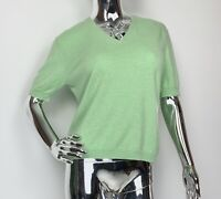 Eric Bompard Cashmere  Lime Green Short Sleeve Sweater Top