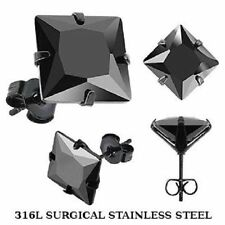 NEW PAIR OF MENS 8mm BLACK SQUARE CZ STUD EARRINGS 316L STEEL STUDS (A19)