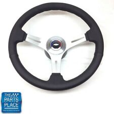 1969-88 Chevy Black Leather & Brushed Silver Steering Wheel & Bowtie Center Cap