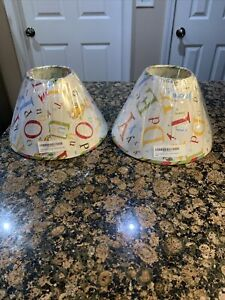 """2 X Dr Seuss Lamp Shade ABC's  6 1/2"""" Tall Pair Trend Lab New"""