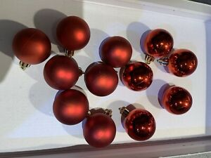 "12x Red Baulbles For Christmas Tree 5shiney 7matt 1.5"""