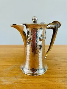 Arts and Crafts silver-plated jug with antler handle