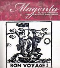 New MAGENTA RUBBER STAMP Bon VOYAGE Fox in sailboat Free us ship CLING