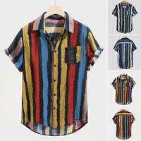 Mens Summer Loose Striped Print Pocket Blouse Short Sleeve Round Hem Shirts Tops