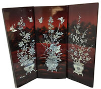 Vintage Oriental Lacquer Wall Plaque Paintings with Mother of Pearl Inlay