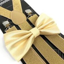 Coool Soft Gold Diamond Bow Tie & Glitter Suspenders Wedding Prom Party