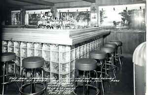 1954 SOLON SPRINGS WI - RPPC - The Bar at Sportsman's Lodge + World Record Fish