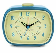 Kikkerland Retro Blue Vintage Alarm Clock Glow In The Dark Hand Battery Operated