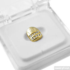 Gold Tone 2 Row Iced Single Tooth Cap Grill for Mouth
