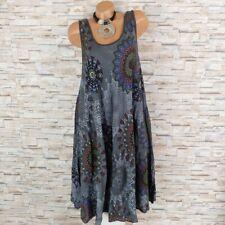 MADE IN ITALY Hängerchen Kleid Sommerkleid Ornamente Ethno dunkelgrau 40 42 44