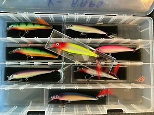 Lot of 8 Rapala Fishing Lures in Cabelas Tackle Organizer Box