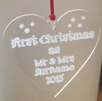 1st Christmas Tree Decoration personalised heart Gift Bauble mr and mrs