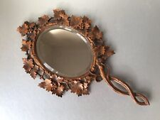 More details for antique 19th century black forest grape vine carved hand mirror, wooden wood