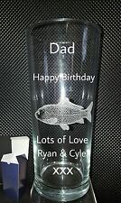 Personalised Pint Glass, Carp,Angler,Fishing, Birthday Gift, 18th 21st 30th 40th